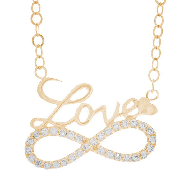 Necklace and Pendant Set  - CZ - 14 K - JST335  Necklace and infinite love Pendant Set  14 K. | 2.74 gr.  For more info call us at: 773-342-1226