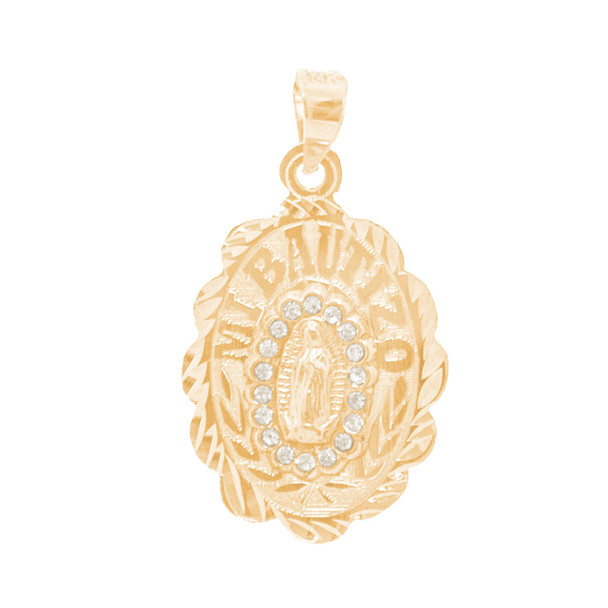 Yellow Gold Baptism Medal decorated with CZ - 14 K - BPT670