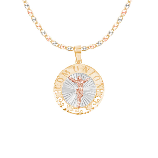 First Communion Gold Pendant and Chain Set - CZ - 14 K - JST372