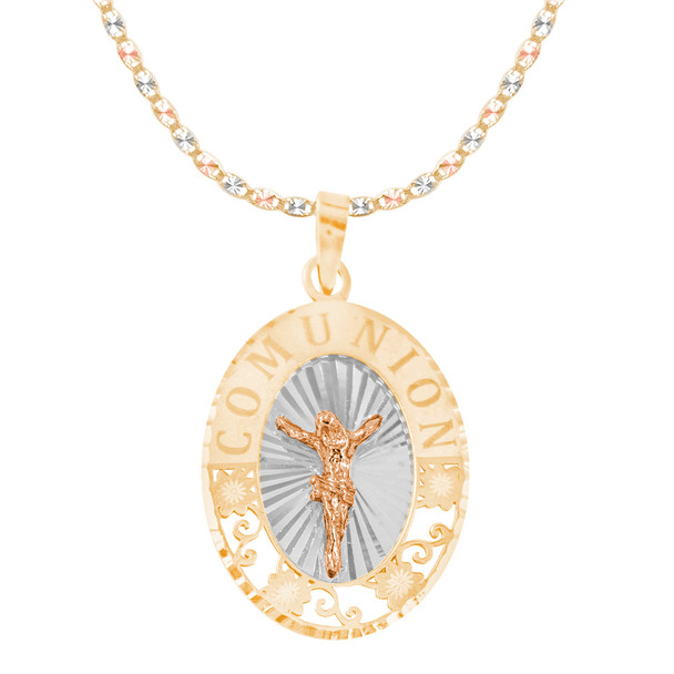 First Communion Gold Pendant and Chain Set - CZ - 14 K - JST373