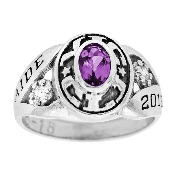 Graduation Ring / White Gold / Birthstone - CZ - GDR222