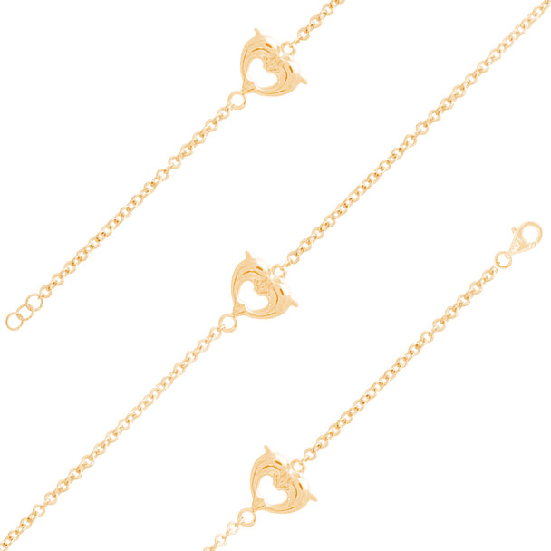 Yellow Gold Ankle Bracelet - 1.0 gr - AKB221