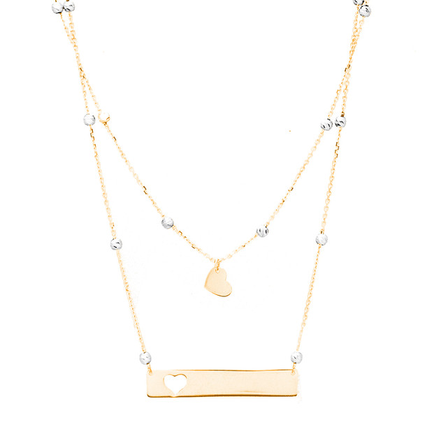 Yellow and white Gold Pendant and Chain Set - 14 K - JST390