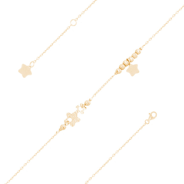 Yellow Gold Ankle Bracelet  - AKB223