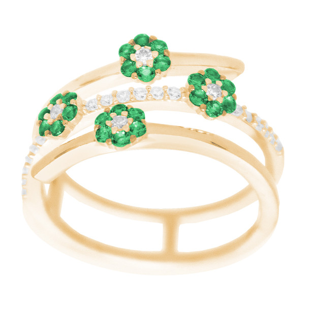 Yellow Gold Ring decorated with CZ and birthstones - 14 K - RGO351