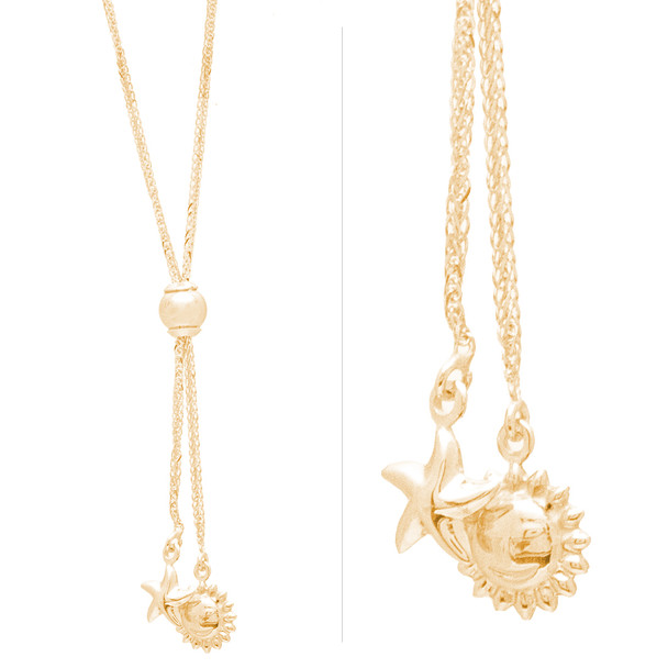 Yellow Gold Chain and Sun & Star Pendants Set - 14 K - JST395