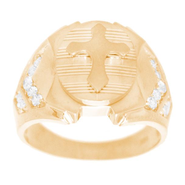 Men's Yellow Gold Ring - Cross - 14 K - RGO342