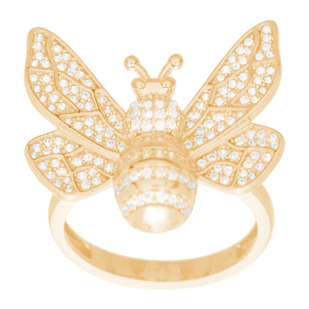 Yellow Gold Ring - Bee - decorated with CZ - 14 K - RGO353