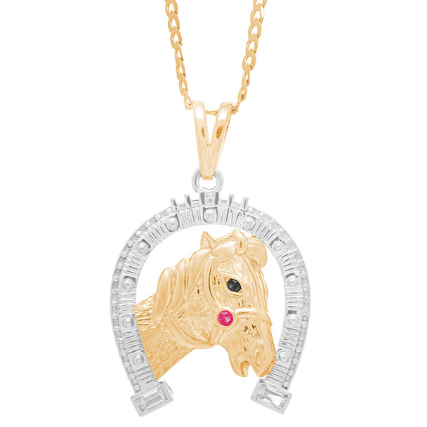 Yellow and White Gold Pendant - Horse / Horseshoe - CZ - 14 K - GP103.   Chain sold separately