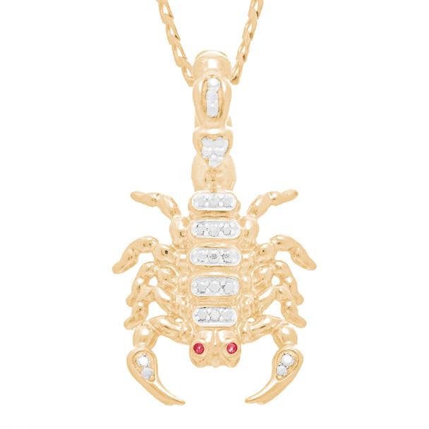 Yellow Gold Scorpion Pendant - CZ - 14 K - GP105