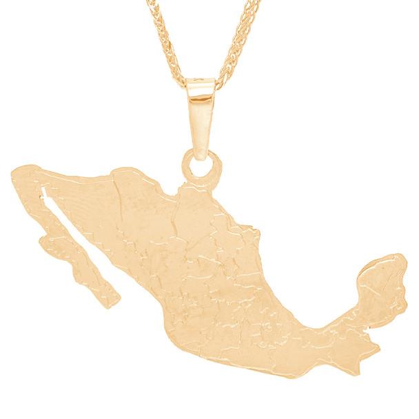 Yellow Gold Mexico Map Pendant  - 14 K - GP109