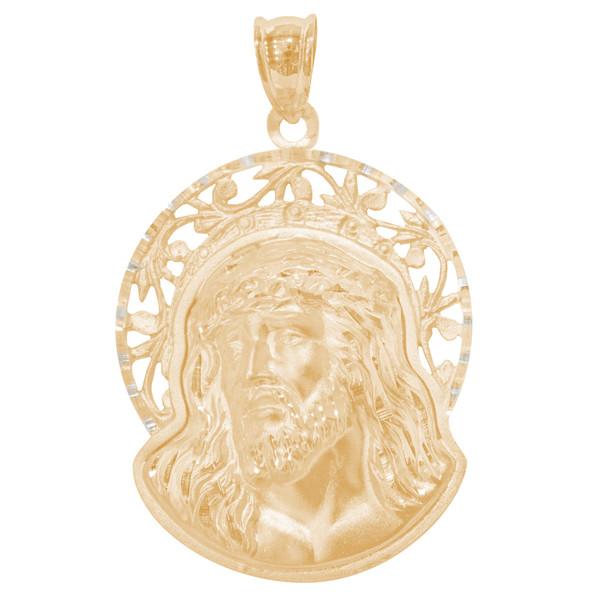 Yellow Gold Jesus Face Medal - 14 K - RP295