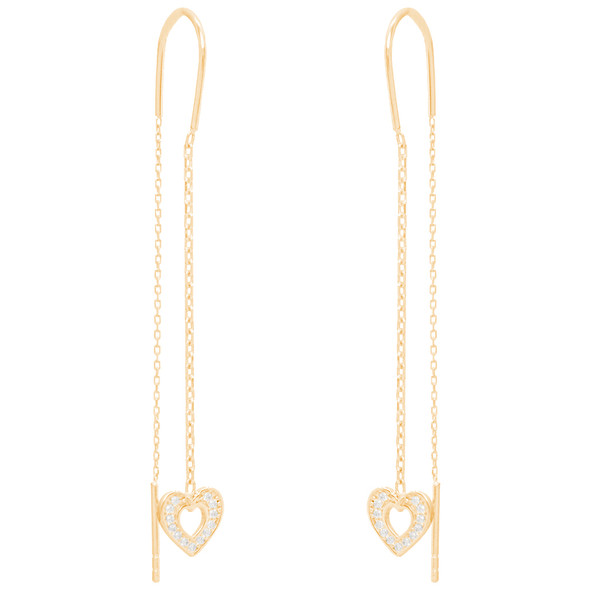Yellow Gold Heart Earrings with CZ - 14 K  - ER4115