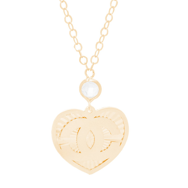 Yellow Gold CC Heart Pendant and Chain Set - CZ - 14 K - JST378