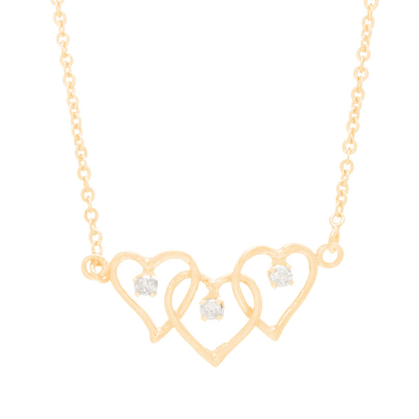 Yellow Gold 3 Heart Pendant and Chain Set - CZ - 14 K - JST379