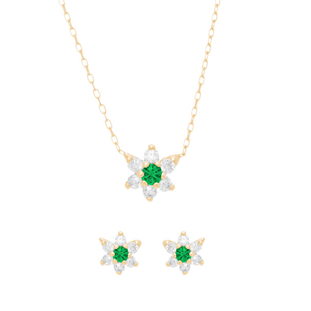 Yellow Gold Star Pendant with Chain and Earrings Set, decorated with CZ - 14 K - JST399