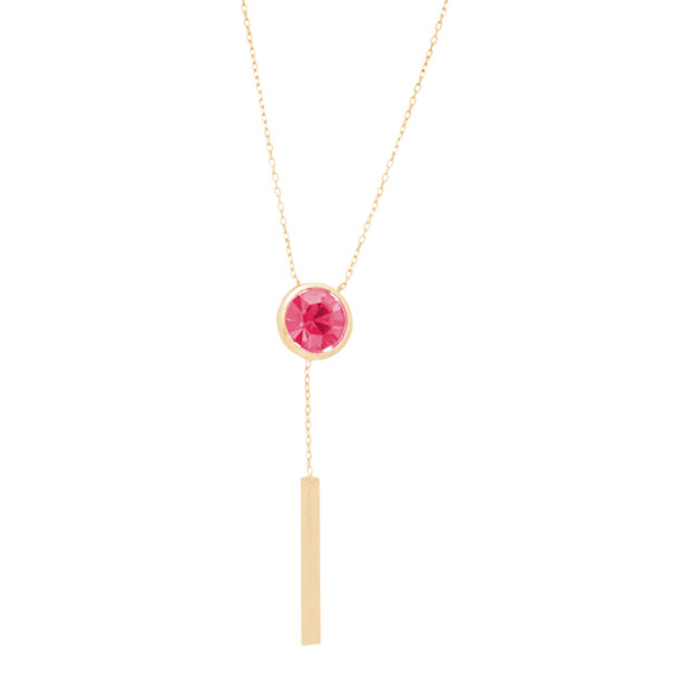 Yellow Gold Pendants with Chain - CZ - 14 K - JST400