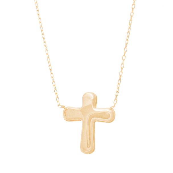 Yellow Gold Cross Pendant with Chain Set - 14 K - JST404