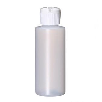 2 oz Natural Plastic Cylinder Round Bottle with Caps 20-410 Neck Finish [72 PCS]