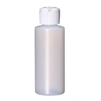 2 oz Natural Plastic Cylinder Round Bottle with Caps 20-410 Neck Finish [144 PCS]