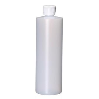 16 oz Natural Plastic Cylinder Round Bottle with Caps 24-410 Neck Finish [12 PCS]