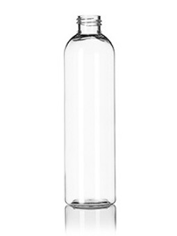 8 oz Clear PET Cosmo Round Bottle with 24-410 Neck Finish [12 Pcs]