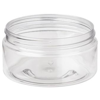 8 oz Clear PET Single Wall JAR 89-400 Neck Finish with Black Cap [6 Pcs]