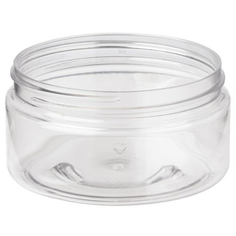 8 oz Clear PET Single Wall JAR 89-400 Neck Finish with Black Cap [72 Pcs]