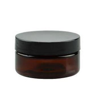 2 oz Amber PET Single Wall Jar 58-400 Neck Finish with Black Cap [6 Pcs]