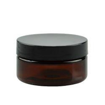 4 oz Amber PET Single Wall Jar 70-400 Neck Finish with Black Caps [6 Pcs]