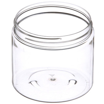 16 oz Clear PET Plastic Single Wall JAR with 89-400 Neck Finish with Black Cap [12 Pcs]