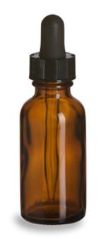 30ml [1 oz] AMBER Boston Round Bottle with Standard Glass Dropper [12 Pcs]