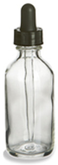 60ml [2 oz] CLEAR Boston Round Bottle with 20-400 Standard Glass Dropper 7X89mm [12 Pcs]