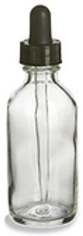 60ml [2 oz] CLEAR Boston Round Bottle with 20-400 Standard Glass Dropper 7X89mm [80 Pcs]