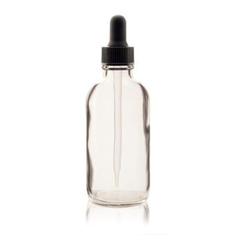 120ml [4 oz] CLEAR Boston Round Bottle with 22-400 Standard Glass Dropper 7X108mm-12 Pcs