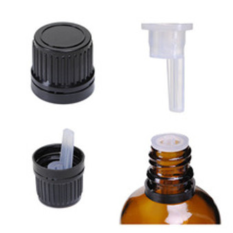 10ml [1/3 oz]  Amber Boston Round Bottle Euro Dropper Caps with 18-DIN Neck finish [96 Pcs]
