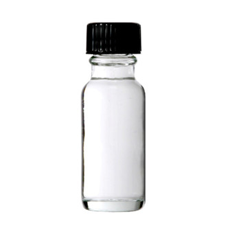 1/2 oz [15 ml] CLEAR Boston Round Bottle with Plastic Cone Liner Caps [12 pcs]