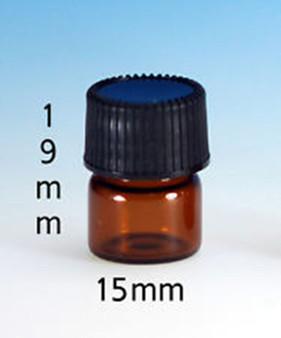 15MM X 19MM [1/4 DRAM] AMBER GLASS VIALS [12 PCS]