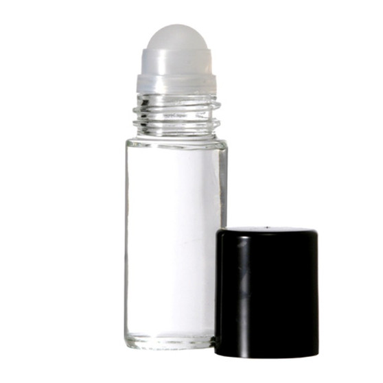 30 ml (1 oz) CLEAR Roll on With BLACK Caps [12 PCS]
