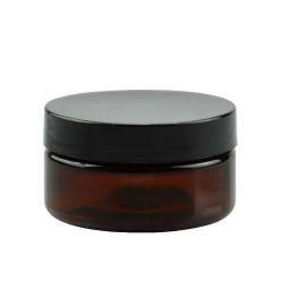 4 oz Amber PET Single Wall Jar 70-400 Neck Finish with Black Caps [12 Pcs]