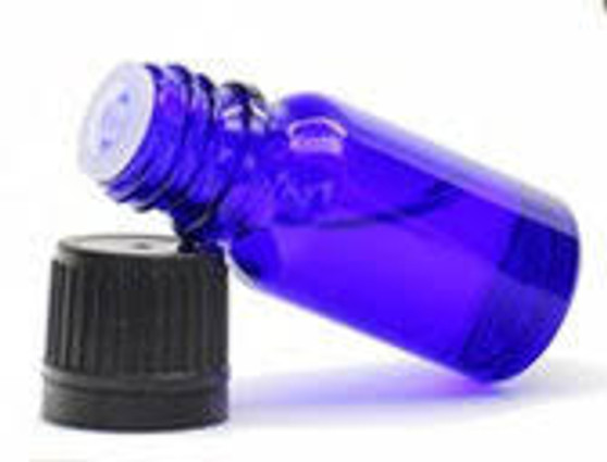 15ml [1/2 oz] Cobalt Blue Boston Round Bottle Euro Dropper Caps with 18-DIN Neck finish [78 Pcs]