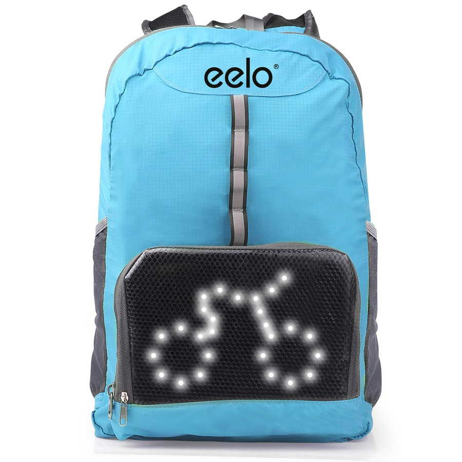 eelo Cyglo (BLUE) - The Ultimate Outdoor Cycle Backpack for Full Visibility and Awareness. Keeping the Rider Safe from Careless Drivers. Safety Back Pack with Rear LED Signal Display
