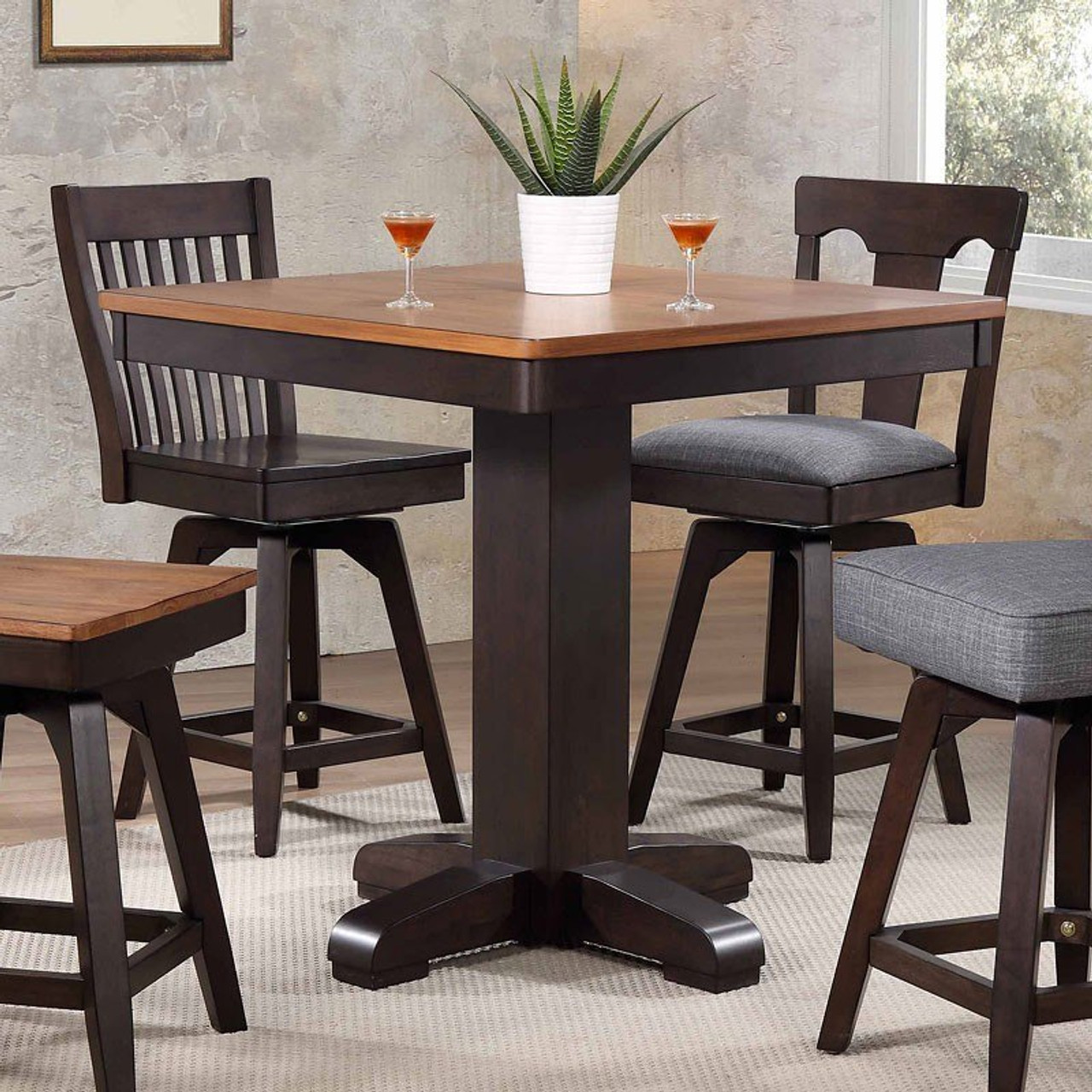 Picture of: Eci Choices Black Oak 36 Square Pub Table Free Local Delivery Gebhardts Com