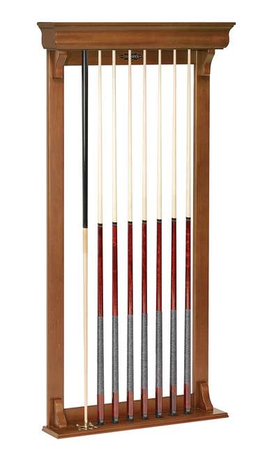 Brunswick Traditional Wall Cue Rack Chestnut Finish
