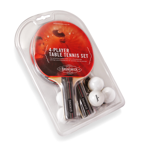 Brunswick Smash Table Tennis 4-Player Racket Set