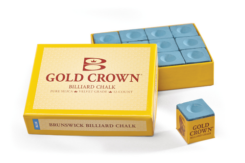 Brunswick Gold Crown Chalk 12 Cube Box - Blue