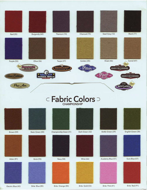 Championship Saturn II Pool Table Cloth With Teflon color chart