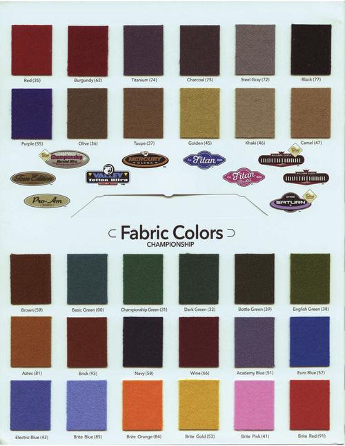 Championship Titan Brites and Lites Pool Table Cloth  color chart