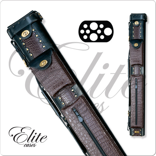 Elite ECL37 3x7 Burgundy Leather Hard Cue Case