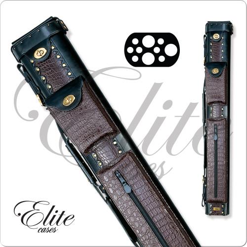 Elite ECL37 3x7 Burgundy Leather Hard Cue Case